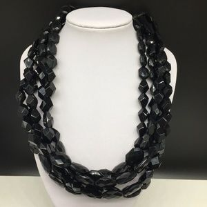 Talbots Black Acrylic Beaded Multi Strand Necklace